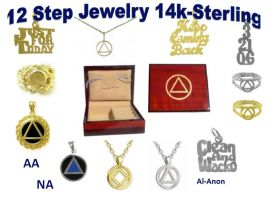 12 Step Recovery Jewelry, AA Supply, 14k Gold, Sterling