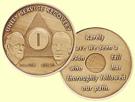 Men in Recovery AANAAl-Anon Medallions Bronze Coins Tokens