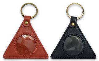 a3443be2641 AA Circle-Triangle Black Leather Key Ring