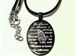 Black oval serenity prayer pendant necklace serenity prayer by black oval serenity prayer pendant necklace aloadofball Images