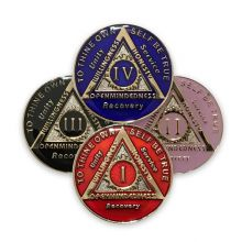 AA Sponsor Coin Medallion Mandarin Red Enamel Alcoholics Anonymous Chip